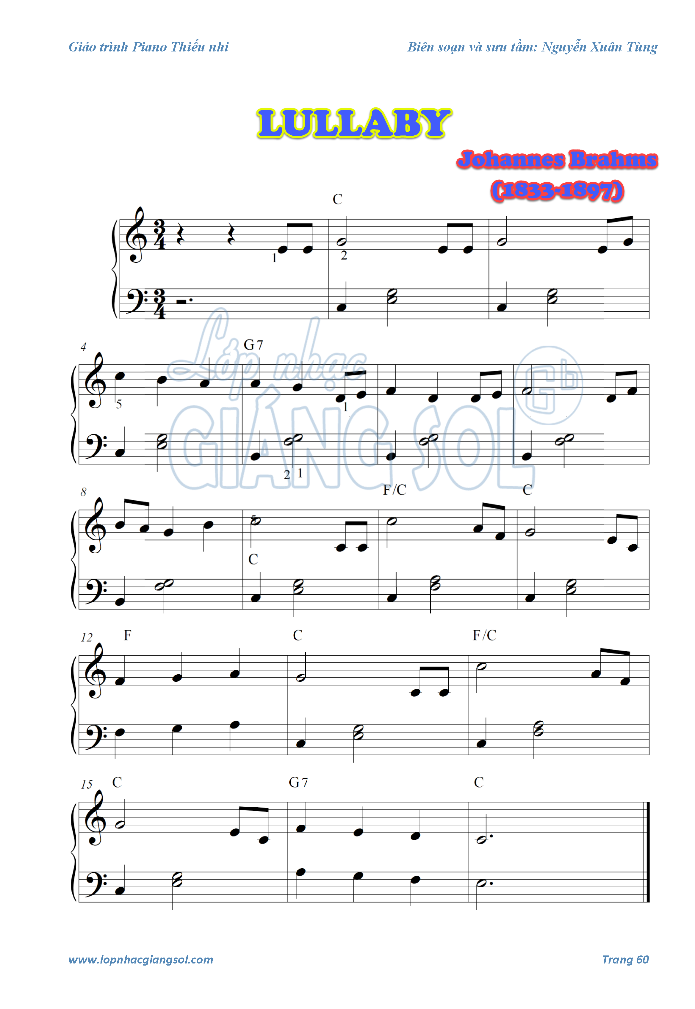 Sheet Piano Lullaby, dạy piano quận 12,